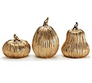 GOLD CERAMIC PUMPKIN DECOR SET