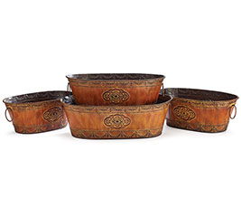 4 PIECE EMBOSSED TIN NESTED PLANTER