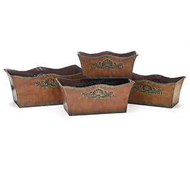 ORNATE EMBOSSED TIN NESTED PLANTER SET