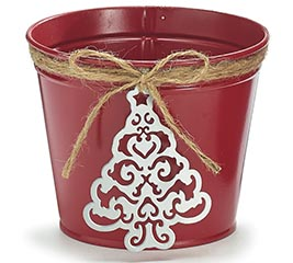 "4"" RED TIN POT COVER W/CHRISTMAS TREE"