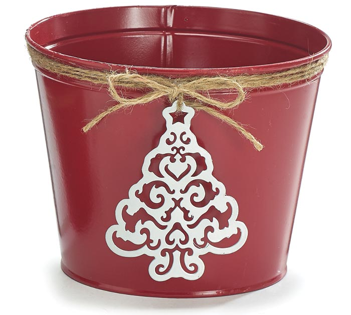 "6"" RED TIN POT COVER W/CHRISTMAS TREE"