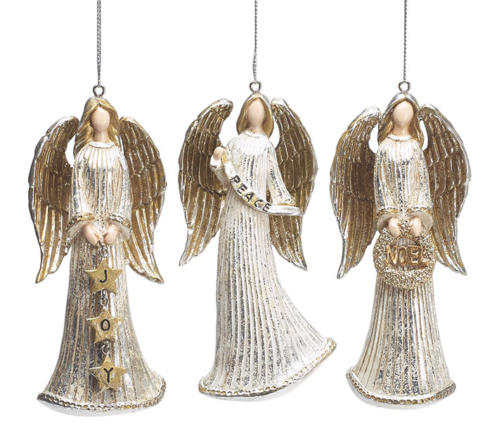 SILVER/GOLD RESIN ANGEL ORNAMENT SET