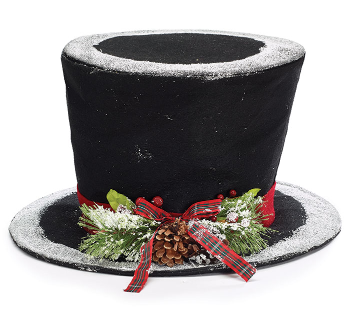 BLACK FELT TOPHAT TREE TOPPER