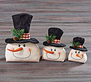 MUSLIN AND FELT SNOWMAN HEAD DECOR