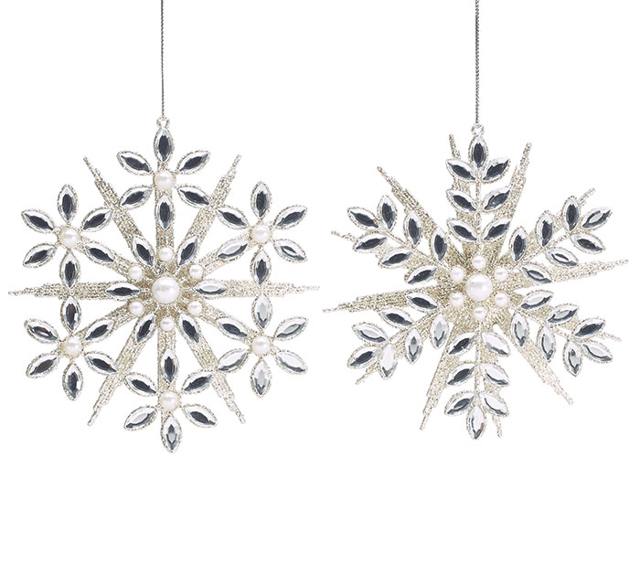 JEWELED SNOWFLAKE ORNAMENT SET