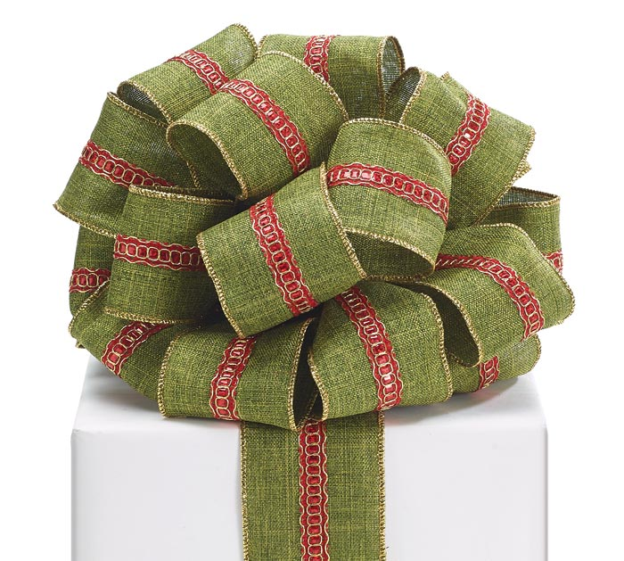 #40 GREEN LINEN RED STRIPE WIRED RIBBON