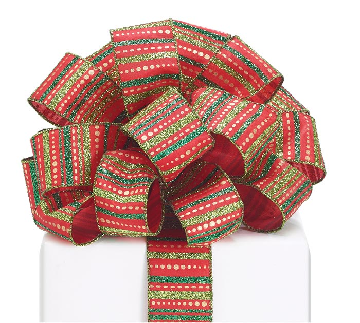 #9 CHRISTMAS GLITTER STRIPE WIRED RIBBON