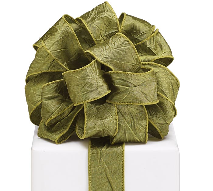 #9 CRINKLED GREEN WIRED RIBBON