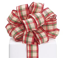 #9 CHRISTMAS KHAKI PLAID WIRED RIBBON