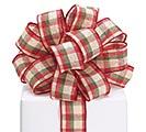 #9 CHRISTMAS KHAKI PLAID WIRED RIBBON