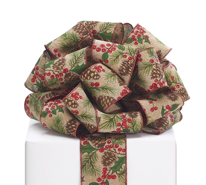 #40 PINE CONE/BERRY LINEN WIRED RIBBON