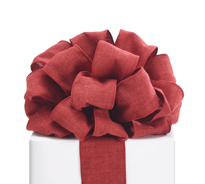 #40 BRICK RED REVERSIBLE WIRED RIBBON