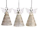 GOLD AND GLASS ANGEL ORNAMENT SET