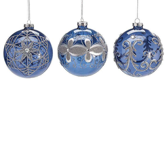 GRAY FLORAL ON BLUE GLASS ORNAMENT SET