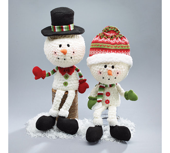 PLUSH BIG HEAD SNOWMAN DECOR PAIR
