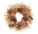 NATURAL FALL PUMPKINS/GOURDS WREATH