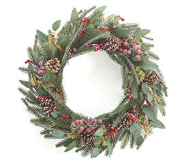 EVERGREEN AND RED BERRY WREATH