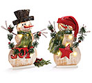 WOOD VENEER/FOAM RUSTIC SNOWMAN SET
