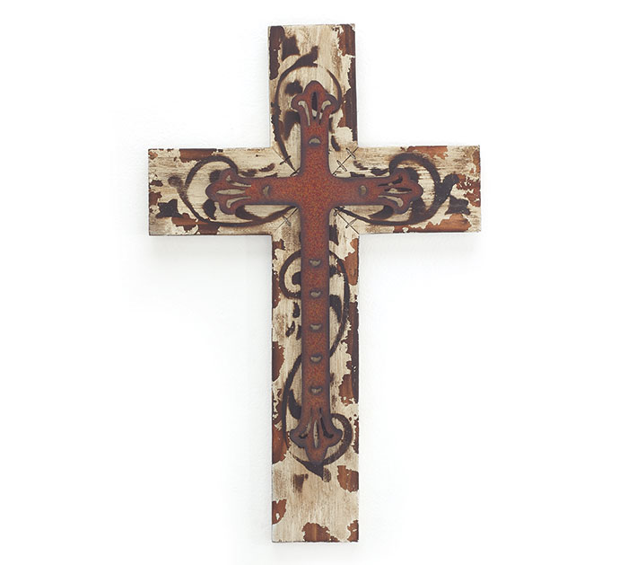 WHITE DISTRESS WOOD CROSS WALL HANGING