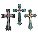 TURQUOISE RESIN CROSS WALL HANGING