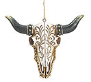 LONGHORN SKULL RESIN ORNAMENT