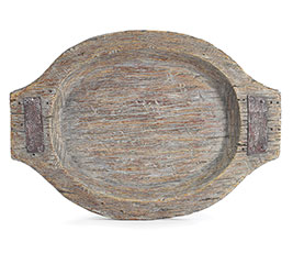 OVAL WOOD TEXTURE RESIN TRAY