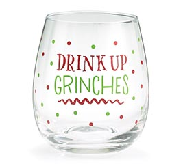 DRINK UP GRINCHES STEMLESS WINE GLASS
