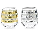 SILVER/GOLD FILL LINE STEMLESS GLASS 1st Alternate Image