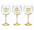 CHRISTMAS MESSAGES/GOLD WINE GLASS SET