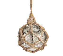 MERCURY GLASS ORNAMENT W/ ROPE ACCENT