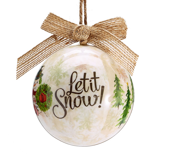 LET IT SNOW ORNAMENT WITH BURLAP BOW