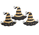 BLACK/GOLD WITCH HAT WALL HANGING SET