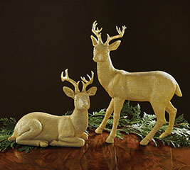 GOLD BURLAP TEXTURE RESIN DEER PAIR