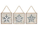 WOOD/METAL SNOWFLAKE ORNAMENT SET
