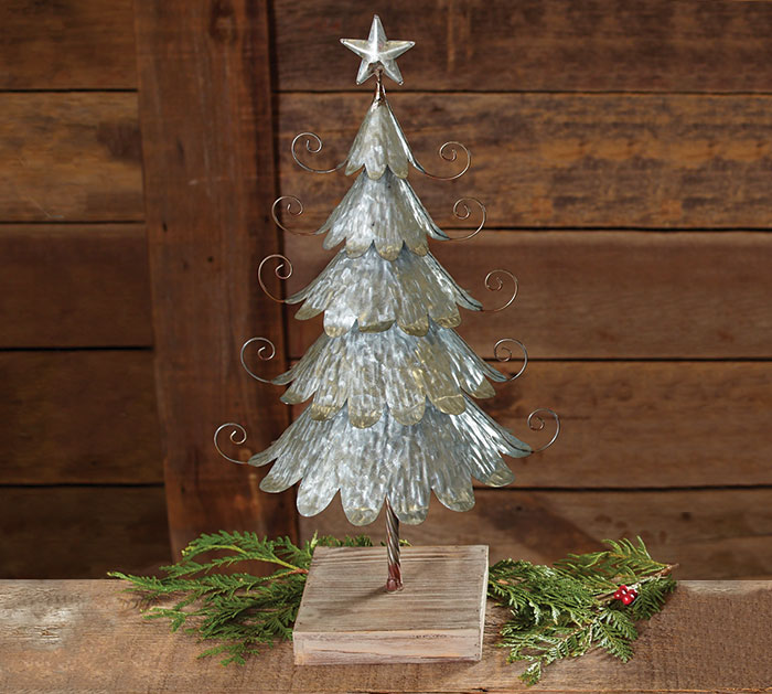 SMALL GALVANIZED TIN DECOR TREE