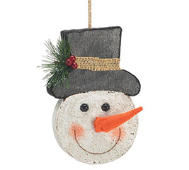 SNOWMAN HEAD WITH TOP HAT ORNAMENT