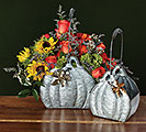 NESTED GALVANIZED TIN PUMPKIN PLANTERS