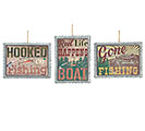 CORRUGATED TIN/WOOD FISHING ORNAMENT SET