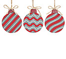 TIN RED STRIPED RED/WHITE ORNAMENT SET