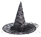 WITCH HAT WITH BAT FABRIC OVERLAY