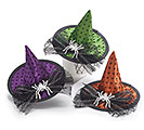 MINI WITCH HAT CLIP WITH SPIDER ACCENT