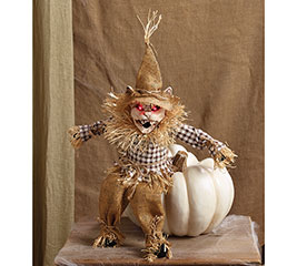 ANIMATED SITTING SCARECROW SKELETON CAT