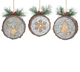 CHRISTMAS WOOD DISC ORNAMENT SET