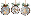 CHRISTMAS WOOD DISC ORNAMENT SET
