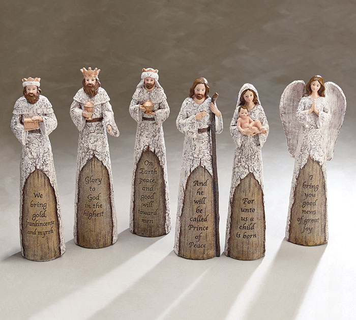 NATIVITY RUSTIC WHITE WOOD LIKE