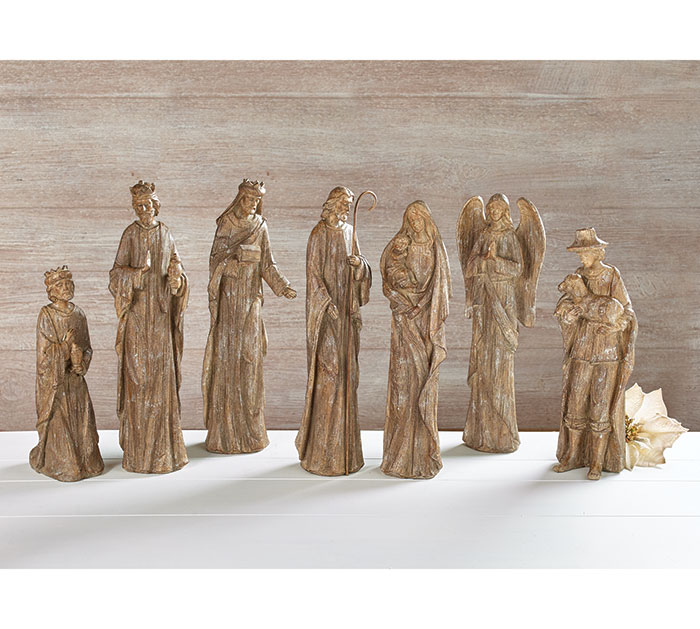 7 PIECE RUSTIC RESIN NATIVITY