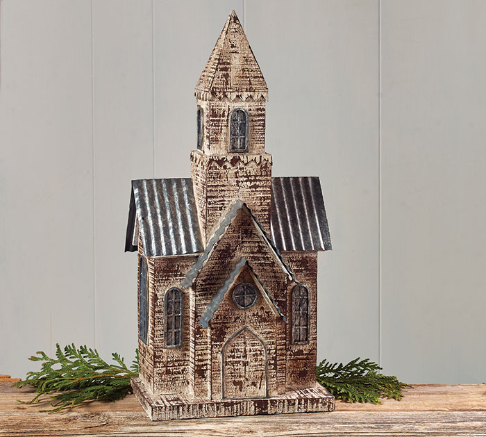 WHITE RESIN COUNTRY CHURCH FIGURINE