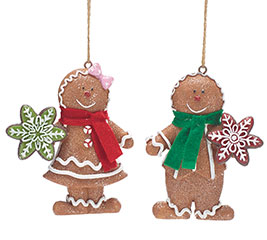 RESIN GINGERBREAD COUPLE ORNAMENT SET