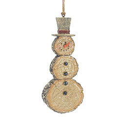 WOOD DISC RESIN SNOWMAN ORNAMENT