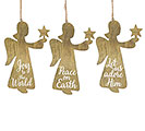 WOOD ANGEL HOLY MESSAGES ORNAMENT SET
